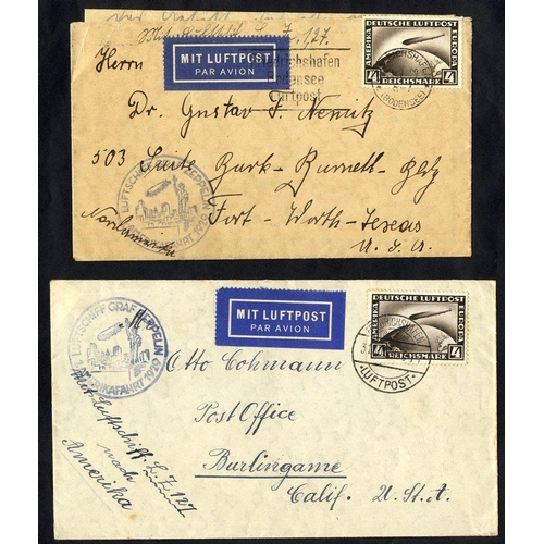 335 - 1929 North America flight (two covers) each franked 4m Zeppelin (SG.445), both tied Friedrichshafen ...