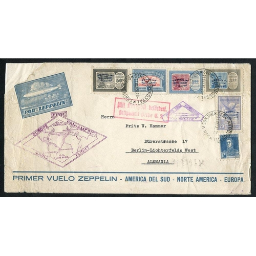 336 - 1930 South America flight Official illustrated envelope, franked Argentina Zeppelin set (SG.582/6), ...