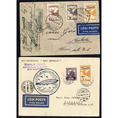 337 - 1931 Hungary return flight to Budapest, franked 50f Air + 1p & 2p Zeppelin set, obverse bears green ...