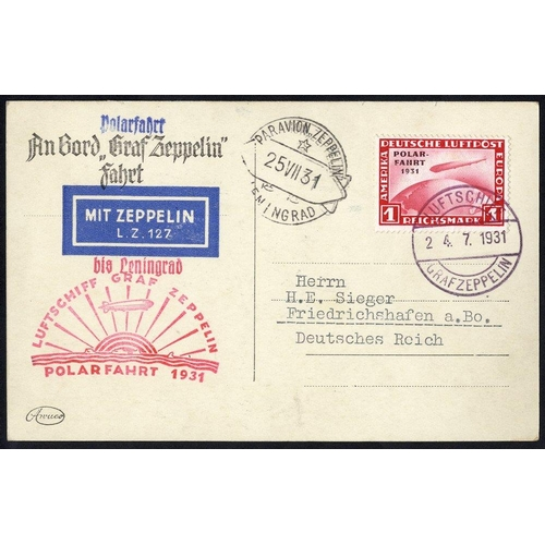 338 - 1931 Polar flight PPC showing LZ127, bears 1m Polar Zeppelin adhesive (SG.469) posted on board with ...