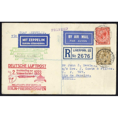 339 - 1933 2nd South America flight registered cover from Liverpool flown to Berlin then connecting flight...