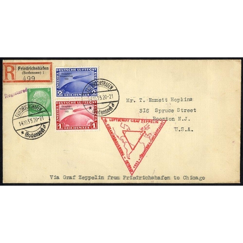 340 - 1933 9th South America flight franked 5pf Hindenburg, Chicago Zeppelins 1m & 2m (stamps Cat. £900), ...
