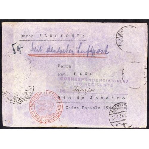 344 - 1934 CONDORS JUNKERS W.34 'Tapajoz' sank Rio De Janeiro 3.5.34 cover Ravensburg - Rio, bears violet ...