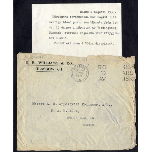 346 - 1939 British Airways 'Electra' crash at Vordingborg, Denmark, cover from Glasgow to Stockholm with M...