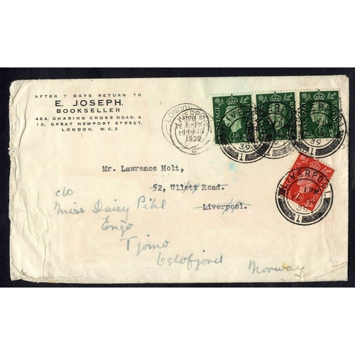 347 - 1939 British Airways 'Electra' crash at Vordingborg, Denmark, cover from Liverpool - Oslofjord with ...