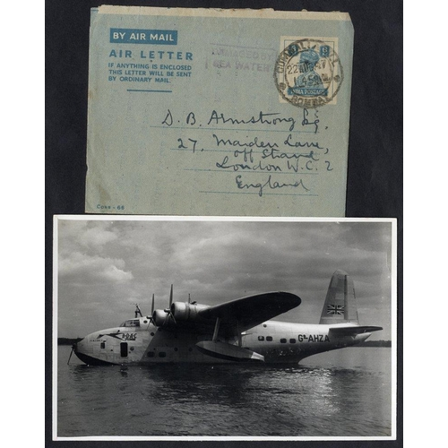 349 - 1947 BOAC flying boat Portland homeward bound from Hong Kong, crash at Bahrain, airmail letter Bomba...