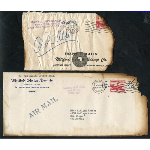 351 - 1948-49 United Airlines crash at Wilburton, PA, cover & P.O slip affixed label 'REC'D IN BAD CONDITI...