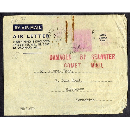 352 - 1954 BOAC Comet I crash off Elba, Kuala Lumpur - Harrogate air letter, bears red two line cachet. N5...