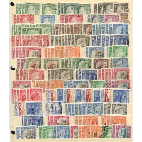 359 - 1937-55 duplicated M & U range of 600+ stamps on stock leaves incl. 1937 Dhows to 1r, KGVI to 2r, QE...