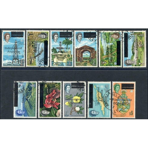 373 - 1967 Independent/Anguilla optd vals ½c to 15c + $2.50 & $5, VFU, SG.1/9, 15/16. Scarce group. Cat. £...