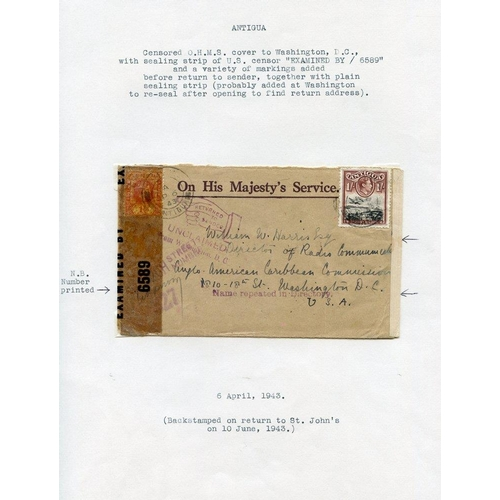 380 - 1939-45 WWII fine representation of censor marks on Antigua covers, mounted & described on album lea...