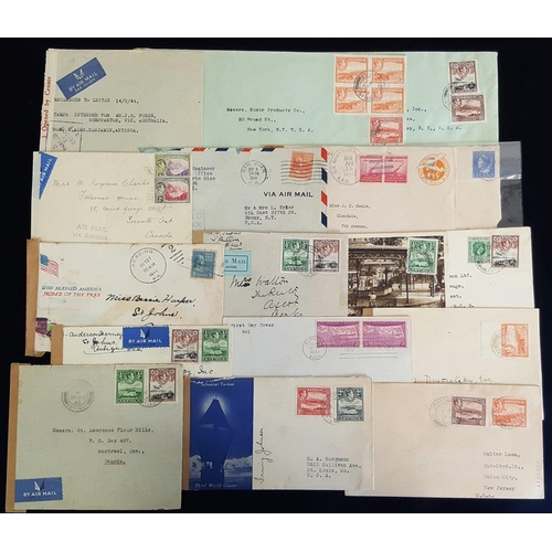 381 - WWII various censored covers with label or CROWN/PASSED BY CENSOR/ANTIGUA marks or EXAMINED BY CENSO...