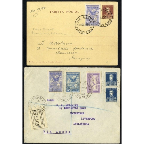 382 - 1928-29 reg covers (6) with some foxing incl. Rosario to Liverpool (19 vals), attractive group, also...