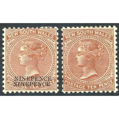 392 - 1899 (Oct) 9d on 10d dull brown (two examples) - one with surcharge double, the other with albino su...
