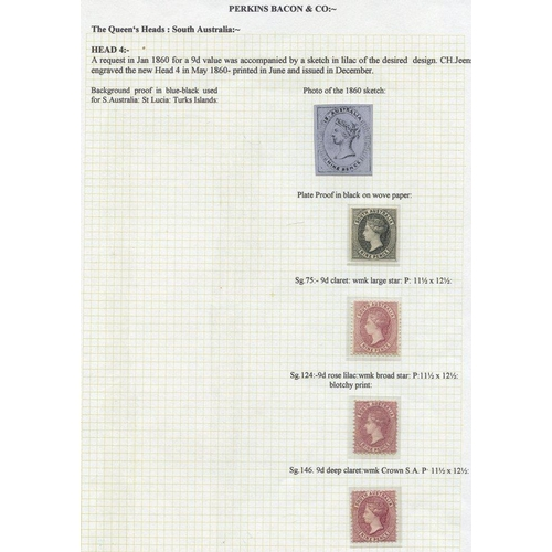 393 - 1860 Plate proof of the 9d value in black on wove paper & three issued stamps (fine M) 1868-79 9d cl...