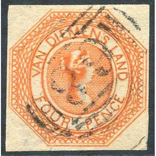 395 - 1853 Plate 1 4d bright red-orange [5], an early impression with small to large margins, lightly canc...