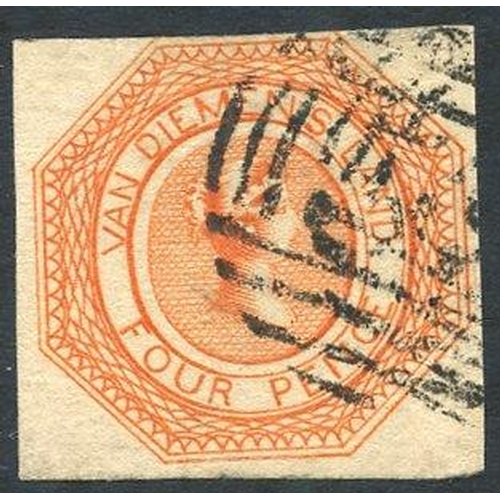 396 - 1853 Plate 1 4d bright red-orange [9], a fine early impression with good margins on three sides, out...
