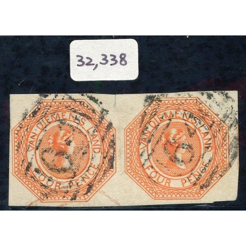 397 - 1853 Plate 1 4d bright red-orange, an exceptional horizontal pair [10-11], with good to very large m...