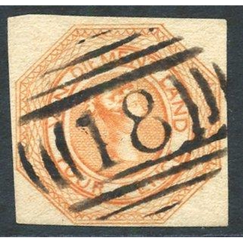 398 - 1853 Plate 2 4d dull orange [18], close to large margins, crisply cancelled '18' at Campbelltown, fi...
