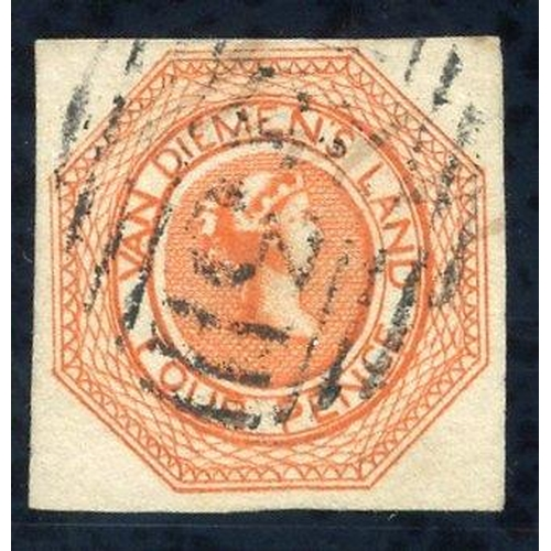 399 - 1853 Plate 2 4d orange [2], good to large margins, cancelled by scarce barred numeral '33,' fresh & ...