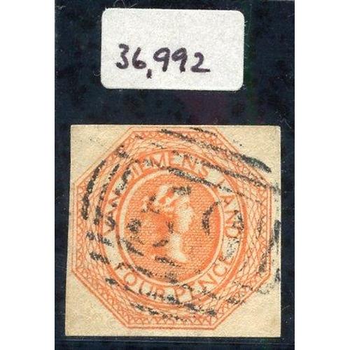 400 - 1853 Plate 2 4d orange [4], close to large margins, lightly cancelled '59' fine BPA Cert.1992, SG.10...
