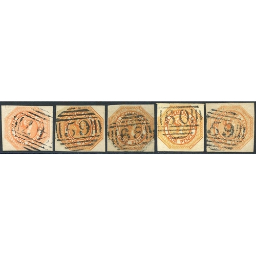 401 - 1853 Plate 2 4d orange [22] shaved at top & cancelled '47' at Oatlands, 4d dull orange [9] good to l...