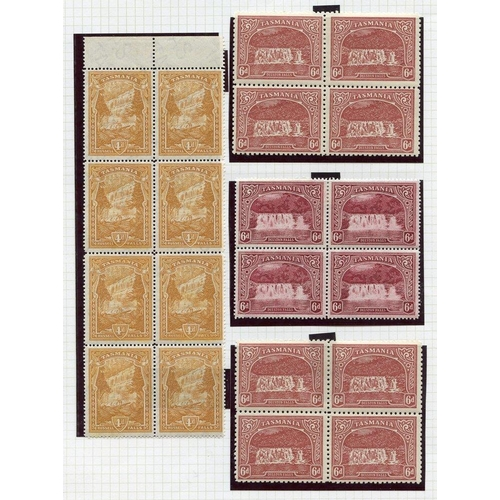 403 - 1899-1900 Pictorials TAS wmk 1d (blocks of twelve & eight), 3d (blocks of eight & four), 4d (block o...