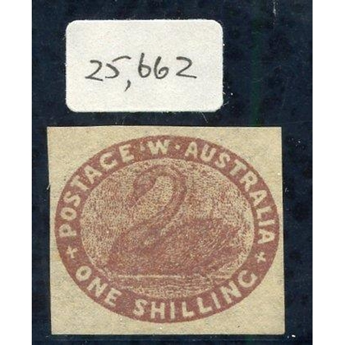 406 - 1854-55 1s deep red-brown, good to large margins, fine unused without gum. BPA Cert. 1987, SG.4a, Ca...