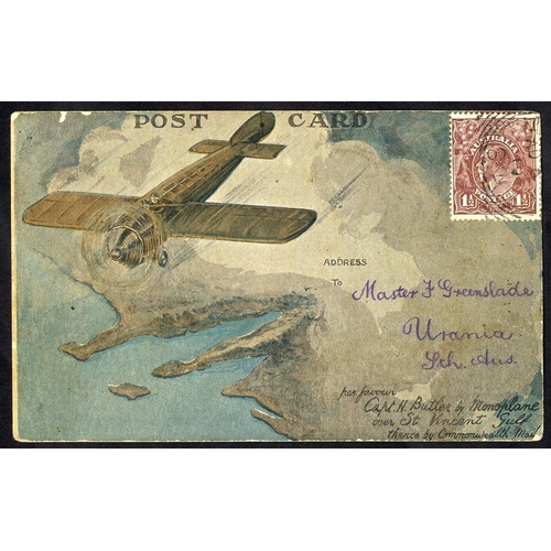 417 - 1919 Harry Butler St. Vincent flight Adelaide - Minlaton official card posted on arrival, franked 1½...