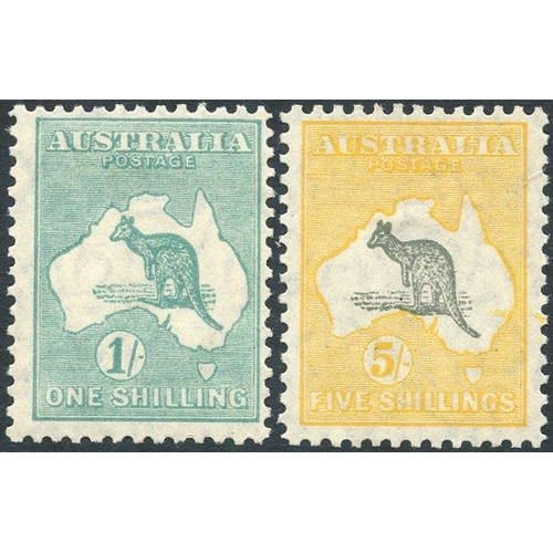 420 - 1929-30 1s & 5s, fresh M (1s is centred upper right), SG.1099 & 111. (2) Cat. £300...