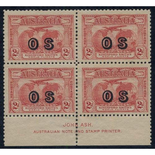 423 - 1931 (Mar) Kingsford Smith 2d rose-red ovptd 'OS' block of four with Ash imprint, fine M, SG.O123, B...