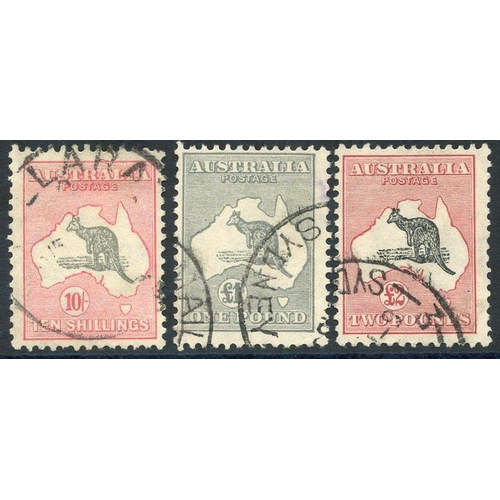 424 - 1931-3 C of A 10s grey & pink, £1 gey (small purple mark on reverse at upper right just shows throug...