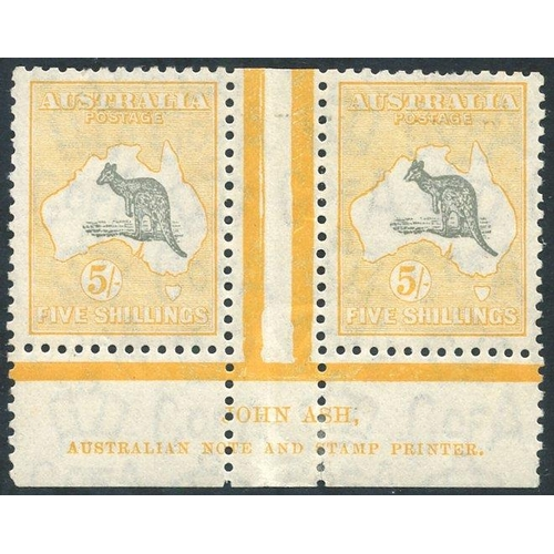 426 - 1931-36 C of A 5s grey & yellow Ash imprint pair, fine M (some minor wrinkles - mainly in the selved...