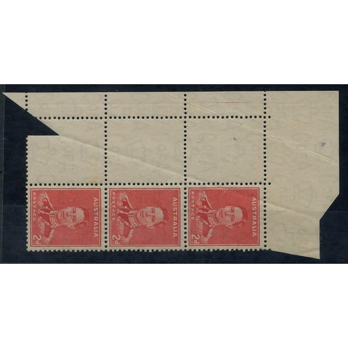 430 - 1937-49 Perf 15 x 14 2d scarlet top left corner block of six (2x3), the left vertical row with print...