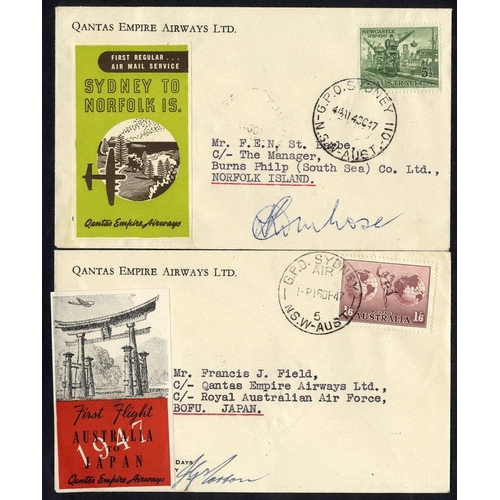 432 - 1947 Qantas first flight Sydney - Norfolk Islands official pilot signed cover, another but Sydney - ...