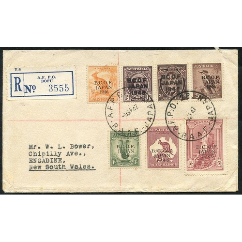 433 - B.C.O.F JAPAN 1947 (Sep) reg. cover to NSW - B.C.O.F Japan o/p set of seven to 5s pmk 'AFPO28 - R.A....