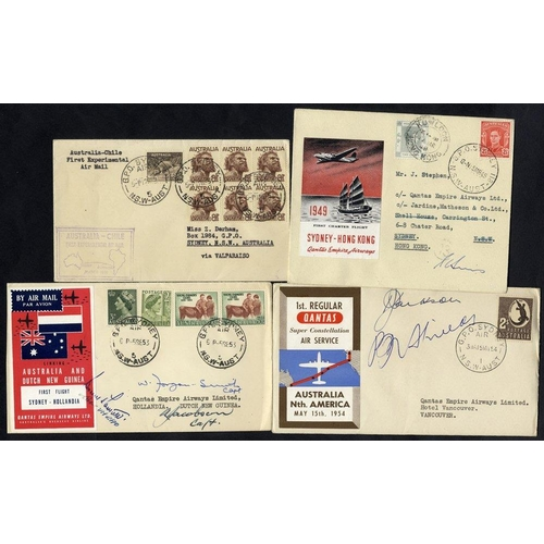 434 - 1949-53 first flight covers (4) 1949 Qantas Charter flight Sydney - Hong Kong official pilot signed ...