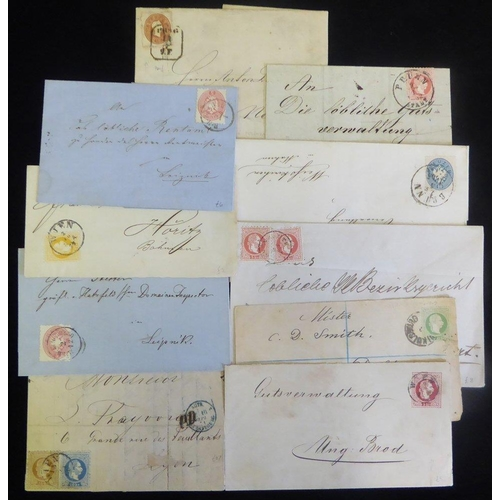 437 - 1860's-70's stamped covers etc. with a good variety of frankings to 15k, postal stationery & cancell...