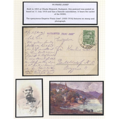 438 - DANUBE STEAM NAVIGATION CO. SHIP MAIL - a lovely well written up and illustrated collection in album...