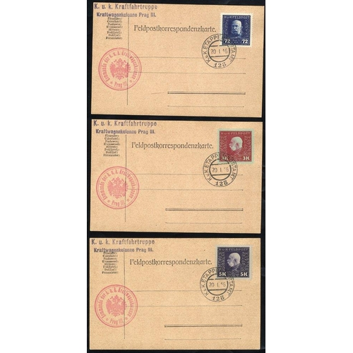 440 - 1915-16 Austro-Hungarian military post, 26 feldpost cards franked with different 'Prince Joseph I' i...
