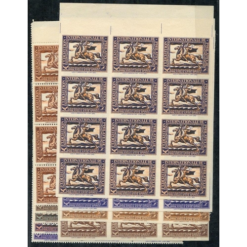 443 - 1929 International Philatelic Federation labels depicting mounted postal rider with posthorn & lette...