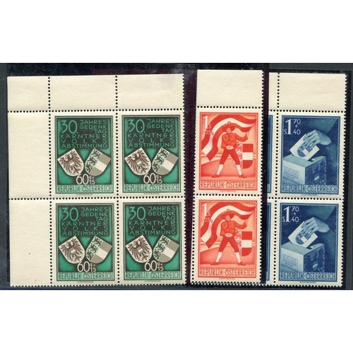 446 - 1950 Carinthian Plebiscite in fresh M corner blocks of four (stamps UM), SG.1212/4. Cat. £560+ (12)...
