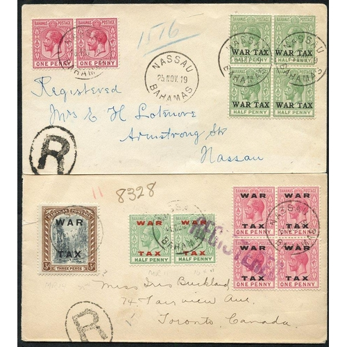 455 - 1919 reg cover to Toronto, Canada, franked pair ½d, block of four 1d & 3d War Tax, tied Nassau c.d.s...