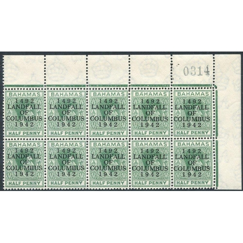 457 - 1942 ½d bluish green upper right corner marginal block of ten incl. the 'accent' flaw, SG.162c. (10)...