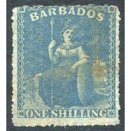464 - 1861-70 no wmk, rough Perf 14 to 16 1s blue - error of colour with the usual pen marks removed, perf...