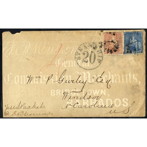465 - 1870 cover to Windsor, North Carolina bearing 1861-70 1d blue & 4d dull rose red, cancelled Numeral ...