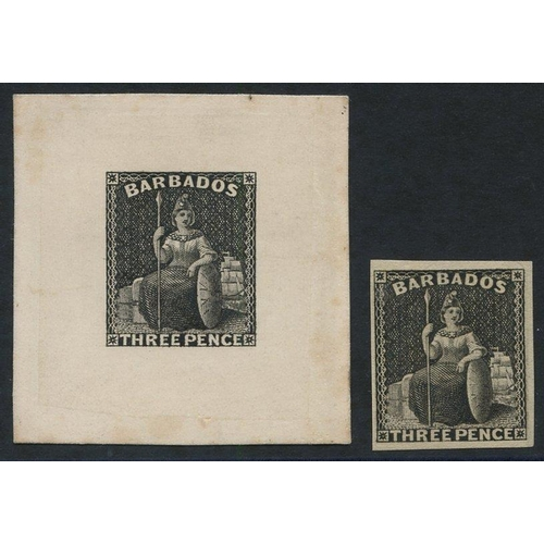 467 - 1873 (June) 3d die proof in black on India paper affixed to card (43x45mm), a little minor periphera...
