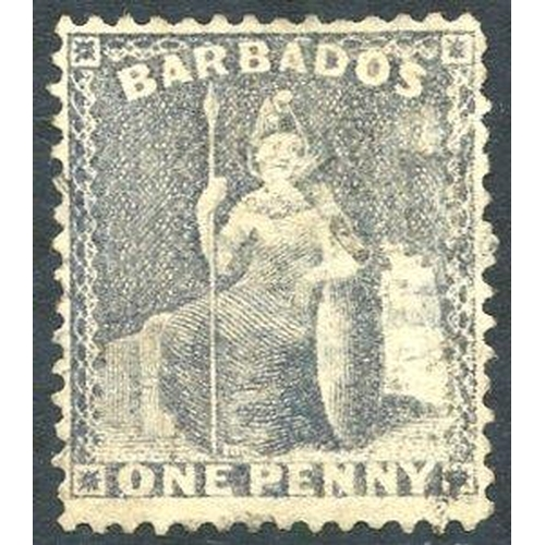468 - 1875-80 CC Perf 14 1d grey-blue with wmk sideways, a good example with light, indistinct cancel, sli...