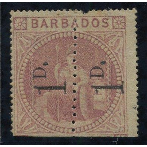 470 - 1878 1d Provisional - an unsevered pair reading upwards, unused with large part o.g, one very lightl...