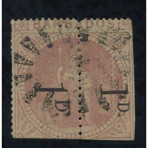 476 - 1878 1d Provisional - an unsevered pair comprising Types A & C reading downwards, lightly cancelled,...